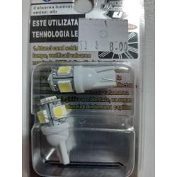 Set 2 becuri LED pozitie T10  5SMD 12V lumina alba